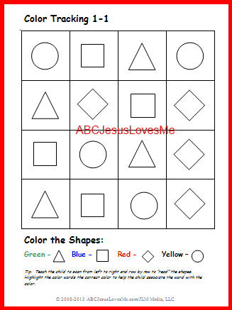 Color Tracking Worksheet