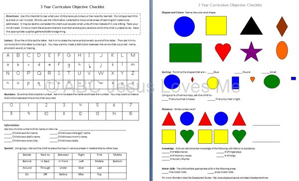 Toddler and Preschool Objective Checklist | ABCJesusLovesMe