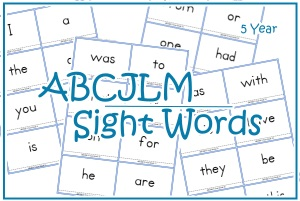 5 Year Sight Word Cards