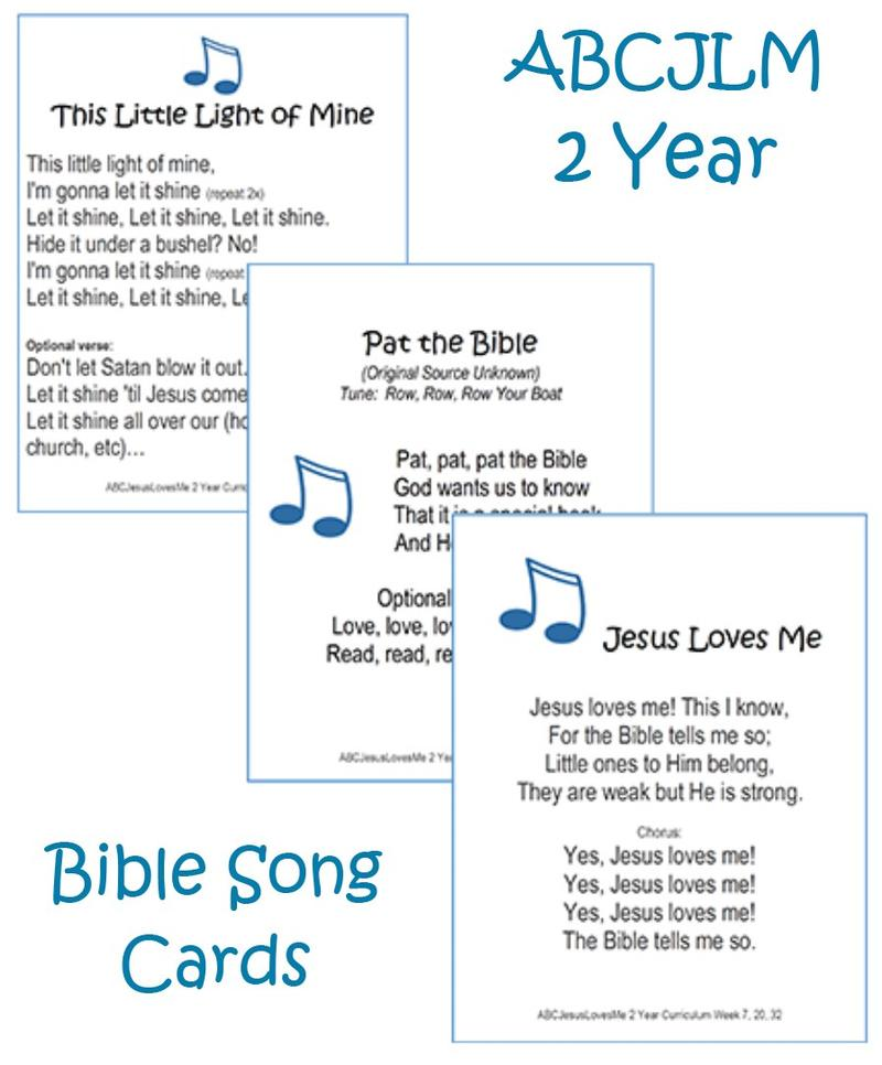 2 Year Bible Songs Cards Digital Download