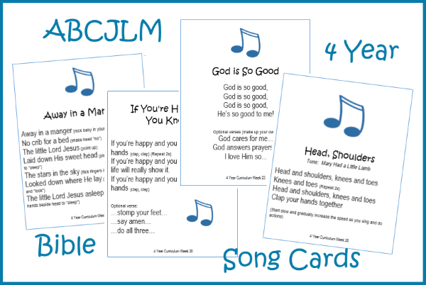 4 Year Bible Song Cards Digital Download