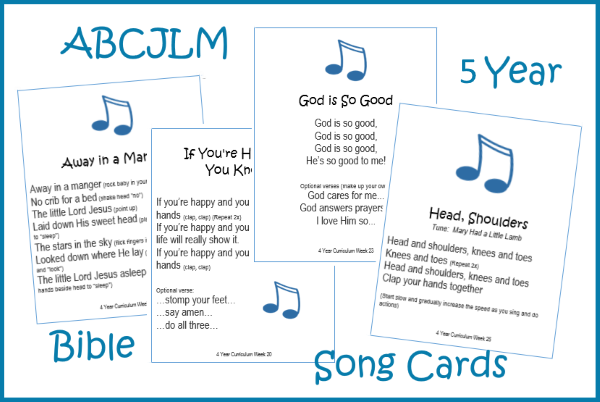 5 Year Bible Song Cards Digital Download
